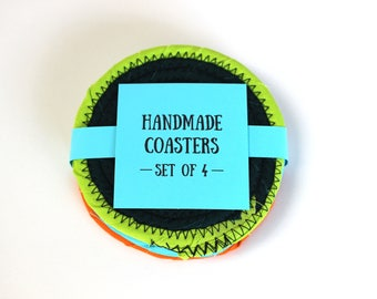 Handmade Coasters - Scrappy Fabric Coaster Set of 4 - Various Colors