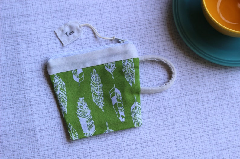 Gift For Mom Tea Gift Green Black Teacup Pouch Feathers Best Friend Gift Gift For Her Earbud Pouch Coin Purse Small Zipper Pouch