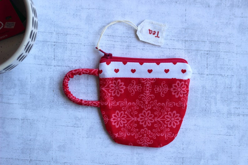 Earbud Pouch Small Zipper Pouch Gift For Mom Coin Purse Love Gift For Her Teacup Pouch Red Floral Hearts Tea Gift Best Friend Gift