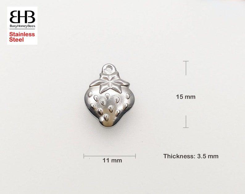earrings Pet charm jewelry findings bracelets 123050 11x15mm Strawberry 3D 2-sided Stainless Steel Charms Pendants Beads for necklaces