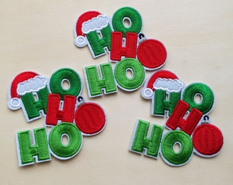 A dozen - 12pcs - X'mas Christmas Santa Claus hat HoHoHo Embroidered Iron on Patch Applique machine embroidery
