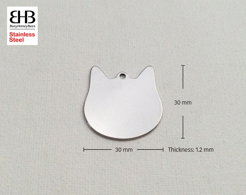 51020 30x30mm Stainless Steel Pet Cat Head Tag Bead Charm Pendant necklace bracelets Jewelry making findings Pet Key charms DIY