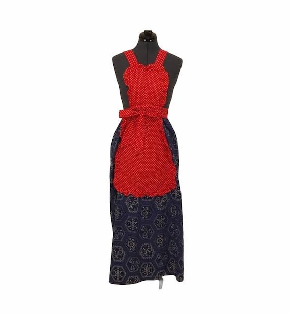 Red, white & blue vintage apron wrap dress