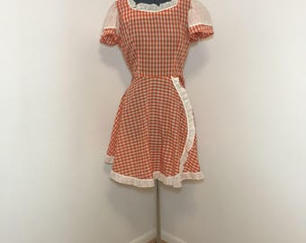 1970s vintage gingham peasant dress