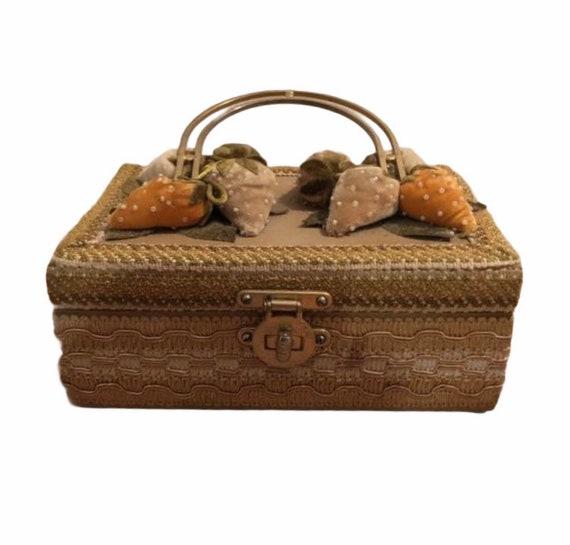 Vintage strawberry wooden handbag