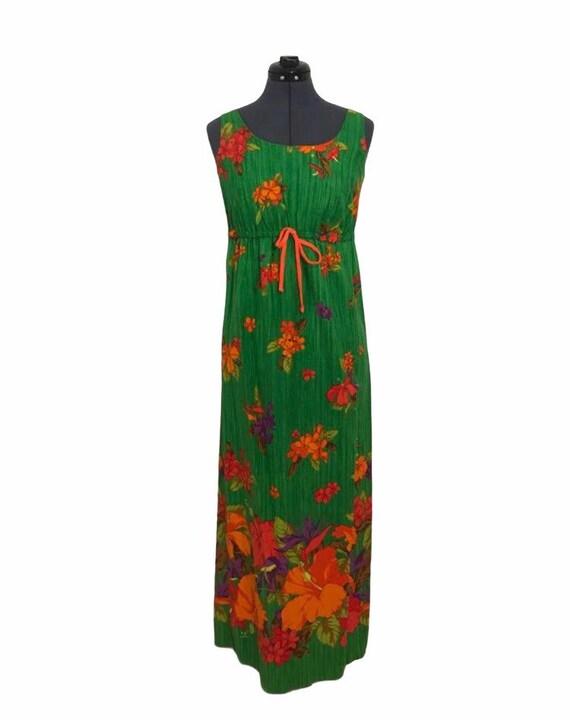 60s Era MalaMa Hawaii Maxi Dress Back Bow Ruffled