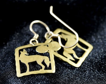 Wild Bryde Hammered Brass Howling Wolf Earrings