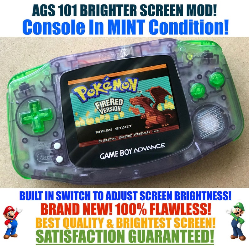 Nintendo Game Boy Advance GBA Custom Atomic Purple System AGS 101 Brighter  Backlit Mod MINT With Brightness Switch