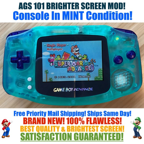 Nintendo Game Boy Advance Gba Custom Glow In The Dark Green Blue System Ags 101 Brighter Backlit Mod Mint