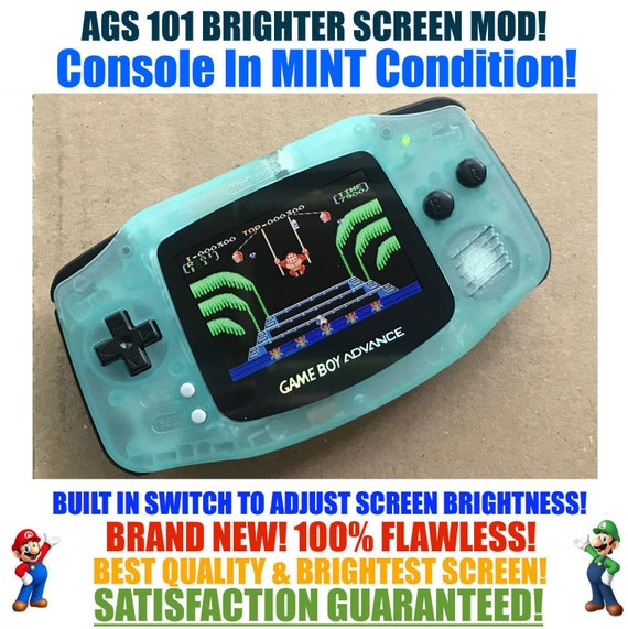 Nintendo Game Boy Advance GBA Glow System AGS 101 Brighter Backlit Mod MINT  With Brightness Switch