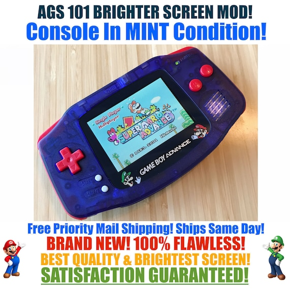Nintendo Game Boy Advance Gba Custom Clear Blue Red Mario System Ags 101 Brighter Backlit Mod Mint