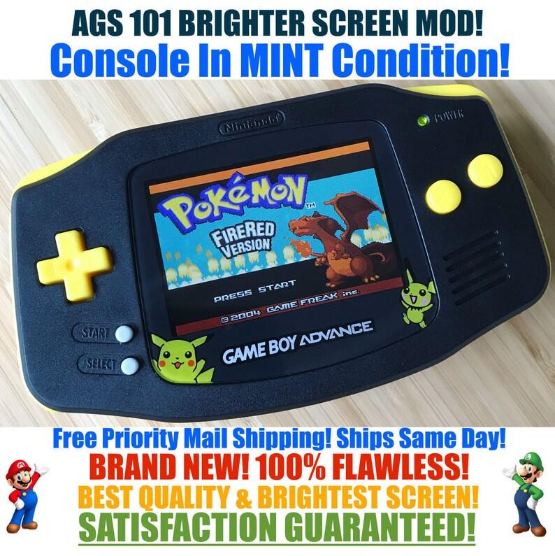 Nintendo Game Boy Advance GBA Custom Black & Yellow Pikachu Pichu Pokemon  System AGS 101 Brighter Backlit Mod MINT With Brightness Switch