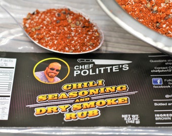 Chili Seasoning and Dry Smoke Rub A 5-ounce bag of BBQ rub seasoning mix for smoking and BBQing and grilling all kinds of meats.