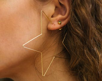 Gold Star Hoops, Large Gold Star Hoops, Star Earrings, Star Hoop Earrings, Gold Star Earrings, Gold Star Hoop Earrings, Hoop Earrings
