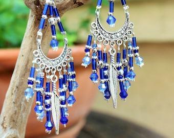 Earrings dangle, silver, Bohemian, hippie, Gypsy, blue and silver.