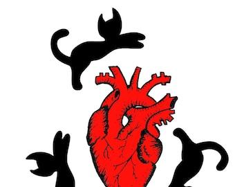 3 Black Cats, Anatomical Heart Art Print by Bianca Olson