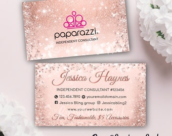 Paparazzi business cards vistaprint etsy paparazzi business card free personalized paparazzi jewelry consultant cardglitter for vistaprint or home printing rose gold reheart Images