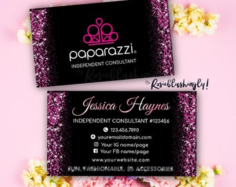 paparazzi business cards free personalized paparazzi jewelry consultant cardglitter for vistaprint or home printing - Paparazzi Business Card Template