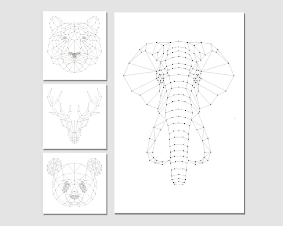 String Art Patterns 4in1 String Art Elephant String Art Etsy