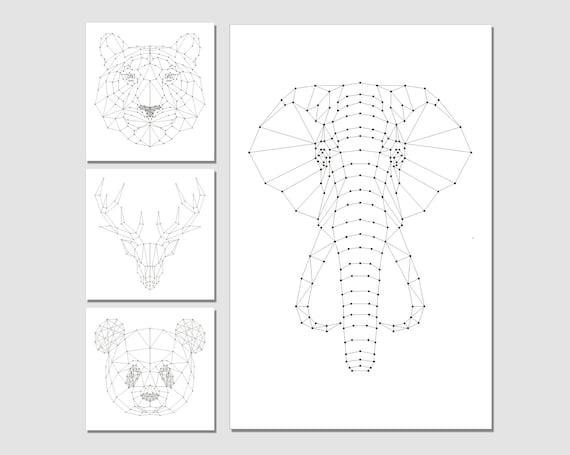 String Art Patterns 4in1 String Art Elephant String Art Etsy