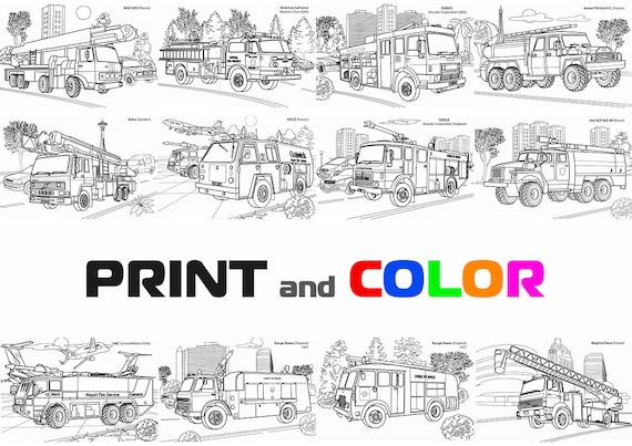 - Coloring Firetrucks Coloring Book Truck Coloring Pages Etsy