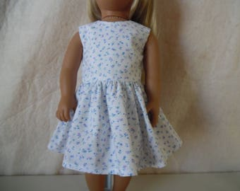 """Blue and Purple flowers on white dress for 18"""" dolls"""