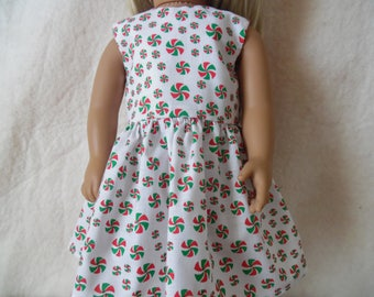 """Red and Green peppermints on white dress for 18"""" dolls"""