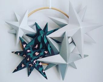 Kids + Nursery Decor    Christmas Wreath    Star Wreath    3D Christmas Wall Hanging    Star Decor