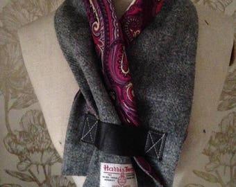 Harris Tweed and Vintage satin Scarf