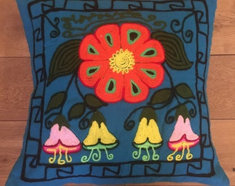 Colourful Cushion cover, pillow cover embroided handmade.