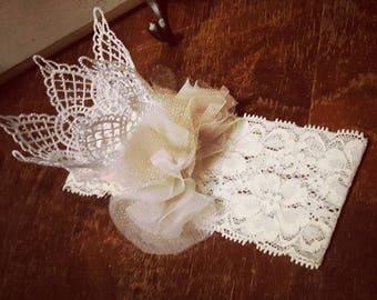 Lace crown headband • baby headband