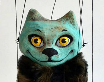 """Turquoise cat marionette. Handmade clay puppet 7"""". Animal that loves hiding, small marionette with fur, wooden controller, strings"""