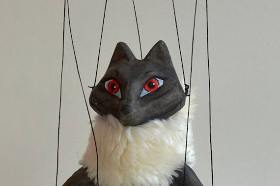 "Handmade clay puppet 7/"" tall Black fox Marionette"