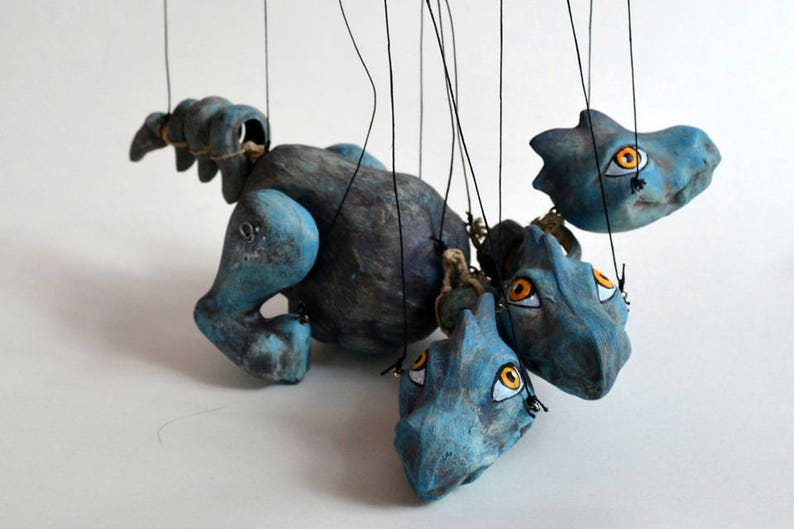 De Blauwe Draak.Blauwe Draak Marionet Handgemaakte Klei Marionet 11 Kreeg Fairytale Vliegende Dier Houten Controller Veel Van Tekenreeksen