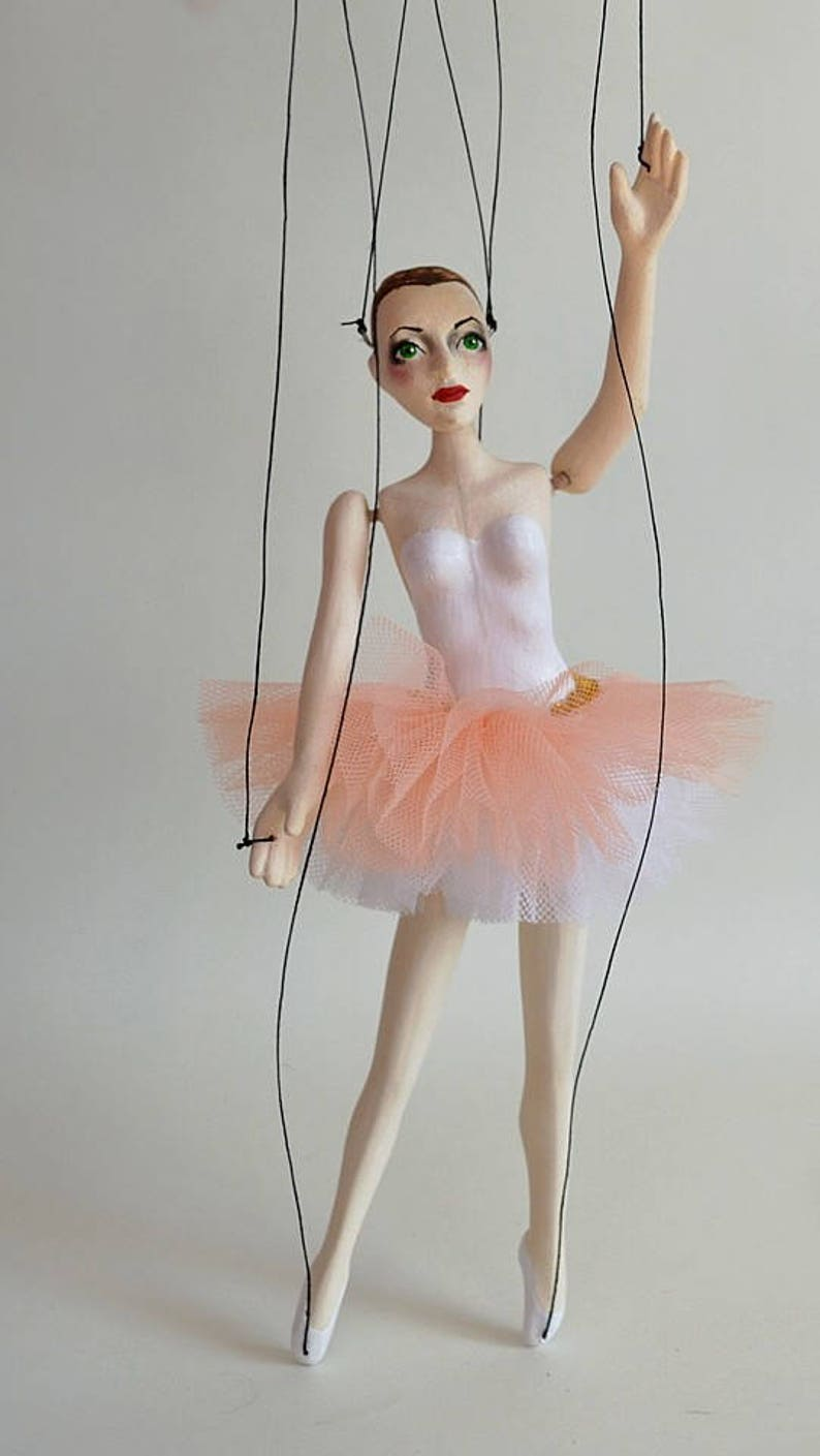 ballet shoes dancing lady Handmade clay puppet 12 pink toto wooden controller Little pink Balerina Marionette strings
