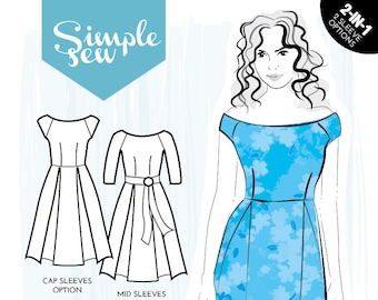 Adventurous Beginner Simple Sew Bardot Dress Sewing Pattern UK 8-20 Sewing Pattern Fashion Pattern Crafts Pattern Upholstery Pattern Design