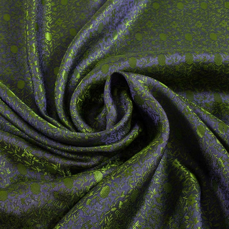 Green And Blue Purple Shimmery Jaquard Material Vintage Dress Craft Supplies Colour Style Design Fabric Sample Available