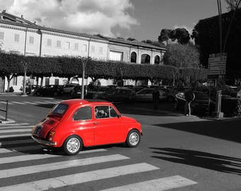 POP! of Red. Classic Fiat 500, Frascati, Rome, Italy. Selective Color. Travel Photography. Italian car. Digital Download. Wall Art.