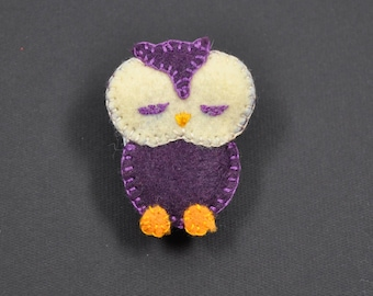 Purple color felt OWL brooch