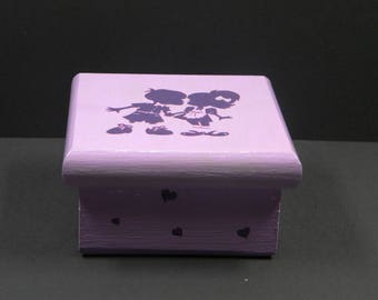 square purple painted wood and varnished box satin couples decor
