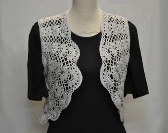 Sky blue Mercerized cotton crochet Bolero