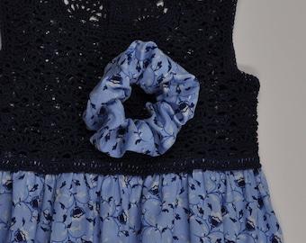 summer dress girl cotton light blue printed floral top crocheted cotton Blue Navy