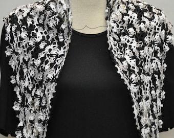 fancy black gray white cotton crochet shawl