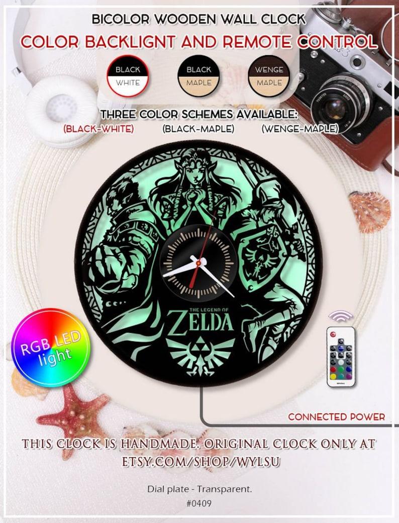 Legend of Zelda Handmade LED Vinyl Wall Clock Light Color Change Backlight Lamp