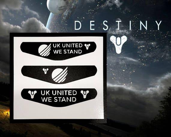 PS4 contrôleur lumière bar vinyl sticker autocollant, 3 x clan DESTINY 2 UK United we stand playstation 4