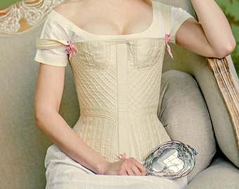 95cd803507b Regency corset bespoke MADE TO ORDER - silk with cording or embroidered  1820 1830 stays wooden busk