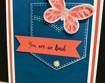 Pocketful sunshine etsy pocketful of sunshine thank you cards 4 pack thank you card pack jeans pocket card butterfly card butterfly thank you card m4hsunfo