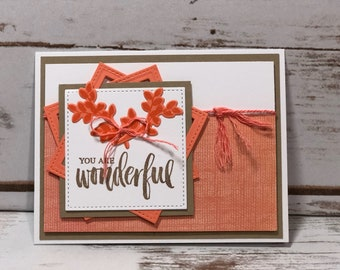 You Are Wonderful Card, Friendship Card, Thank You card