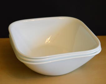 """Set of 6 Corelle Square 6.25"""" Soup Salad Bowls, Pure White, Vitrelle Made in USA, Rounded square corners (3 shown, 6 available)"""