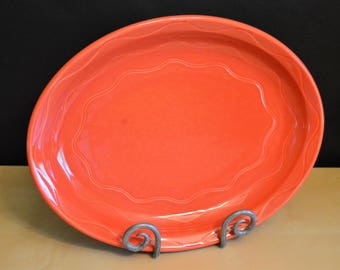 "Syracuse China Pottery 13.5"" Oval Serving Platter, Coral Burnt Orange, USA"